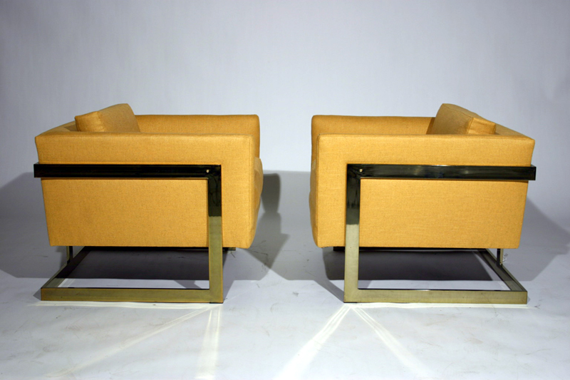 Pair Of Square Brass Club Chairs By Milo Baughman