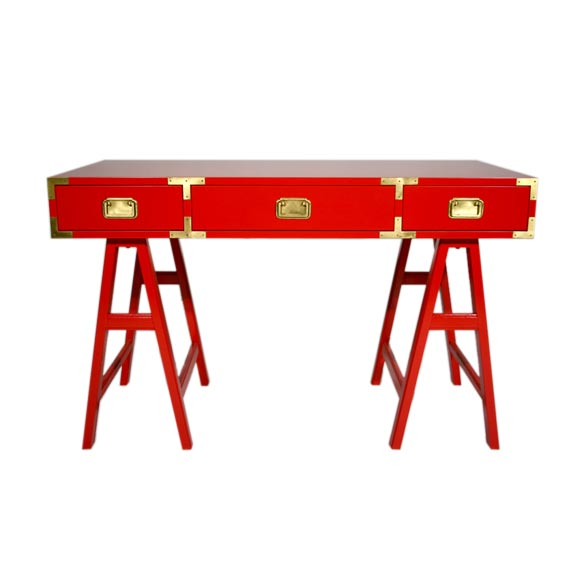 Orange campaign desk with brass hardware :  desks tables furniture red