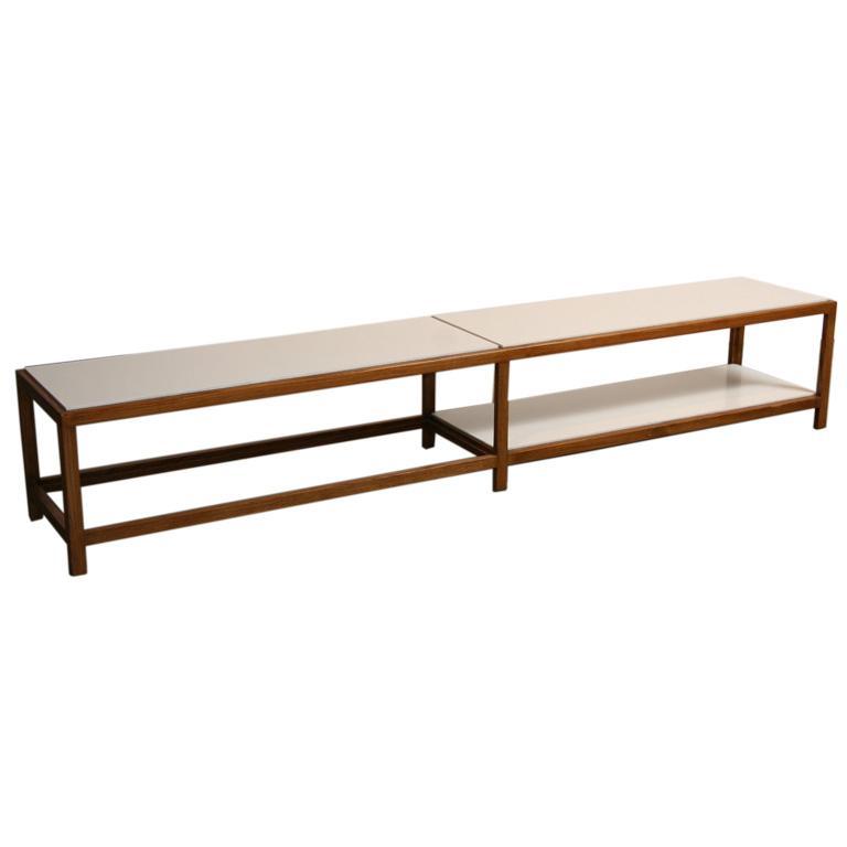 Long Walnut And Formica Inset Coffee Table By Edward Wormley